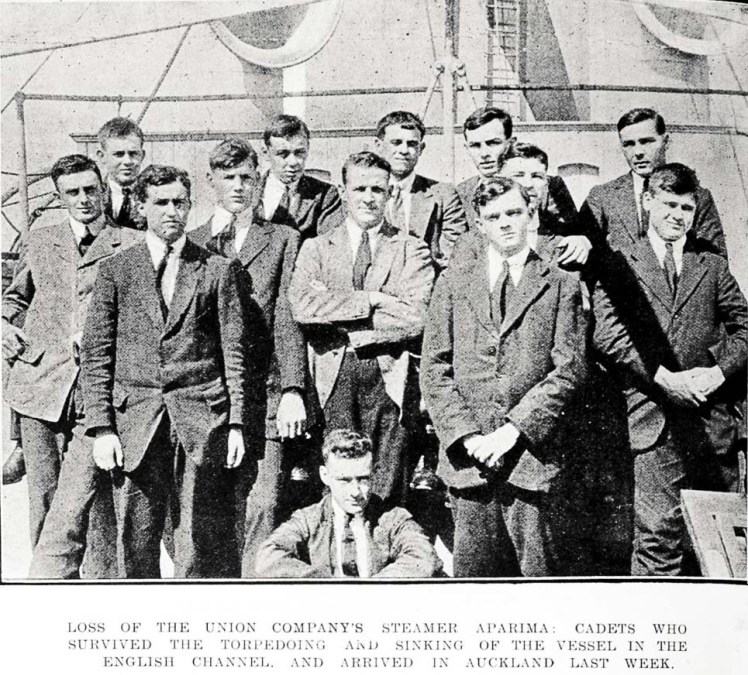Newspaper clipping showing surviving cadets returning to Auckland in 1917