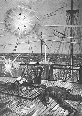 Drawing showing the body of Captain Parslow on the deck of the ship, his son lying nearby at the steering wheel, with bombs exploding overhead