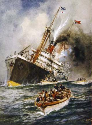 Painting showing a torpedoed WWII-era ship with its crew escaping in lifeboats