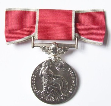 Silver British Empire Medal on ribbon